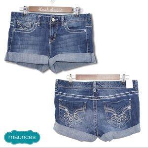 Maurices Wide Cuff Denim Shorts
